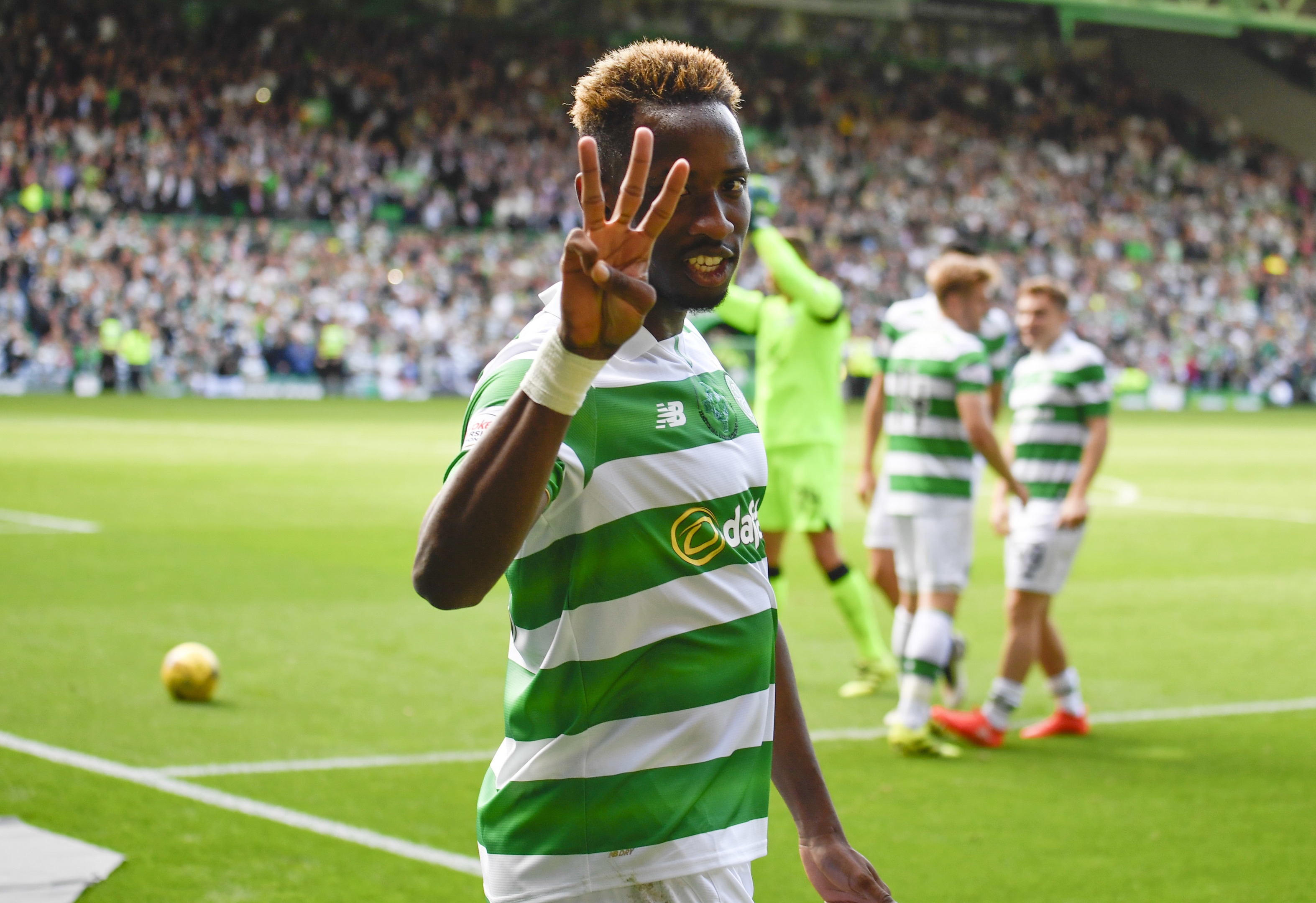 Celtic's Moussa Dembele celebrates at full-time (SNS Group / Rob Casey)