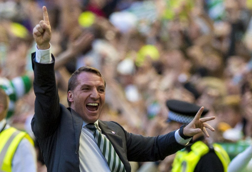 Celtic manager Brendan Rodgers celebrates (SNS Group / Sammy Turner)