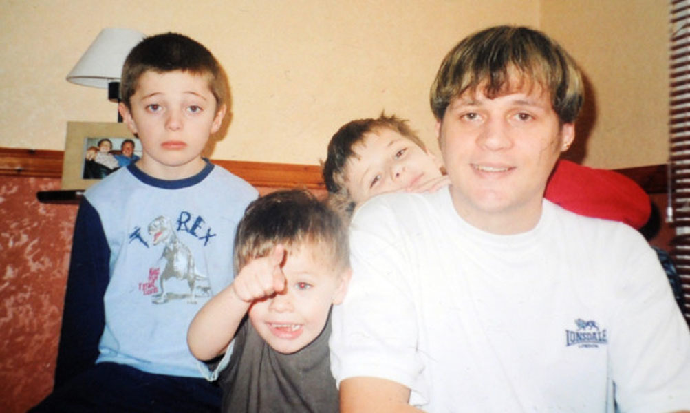 Dean Jamieson with his young family shortly before he was murdered