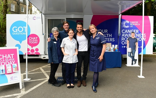 Peter Andre visits Cancer Research UK's Cancer Awareness Roadshow (Jon Furniss)
