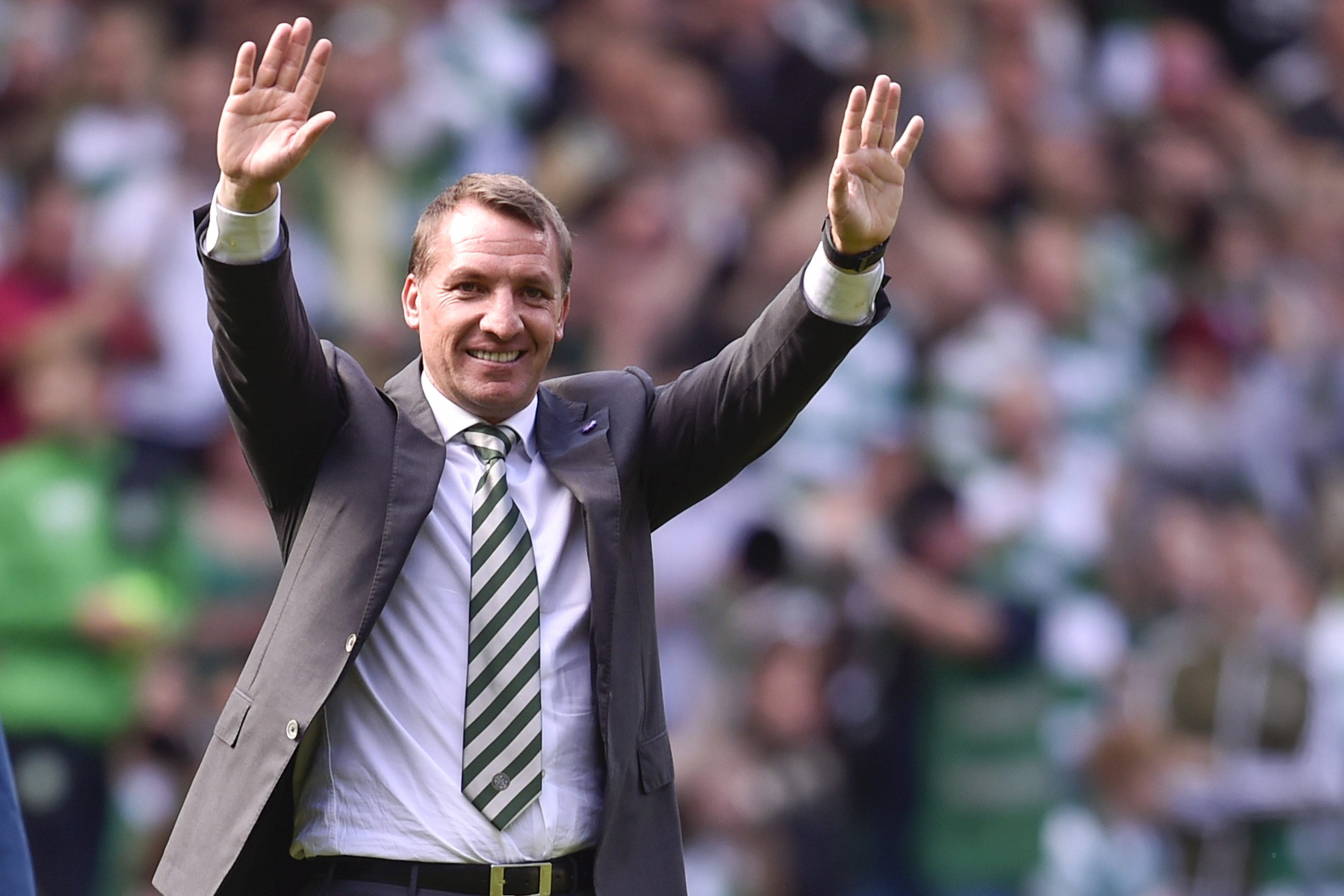 Celtic manager Brendan Rodgers celebrates at full-time (SNS Group / Rob Casey)