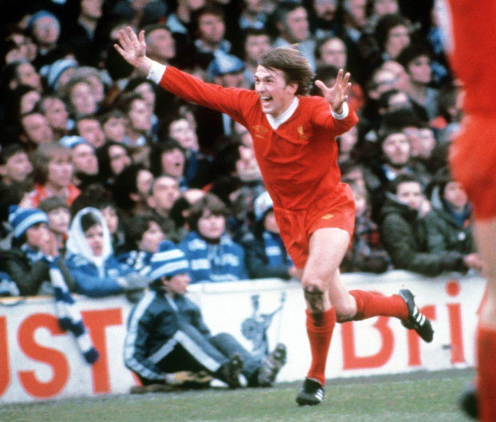Dalglish celebrates a goal for Liverpool (Colorsport/REX/Shutterstock)