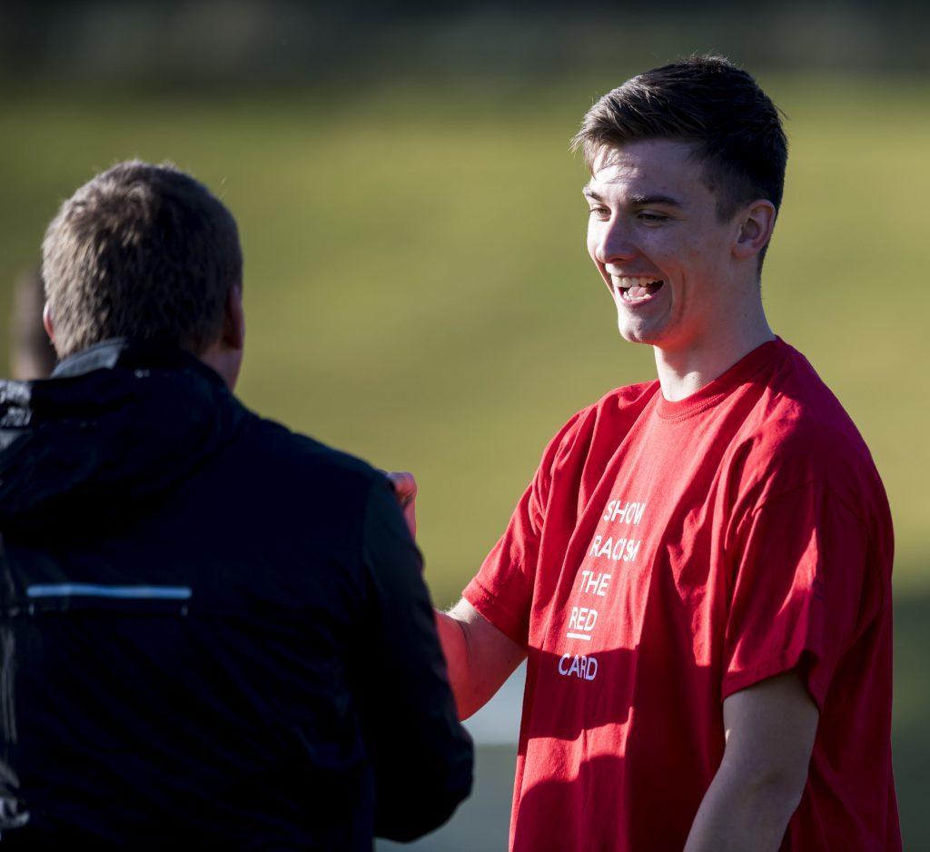 Scotland's Kieran Tierney is all smiles at training (SNS Group / Craig Williamson)
