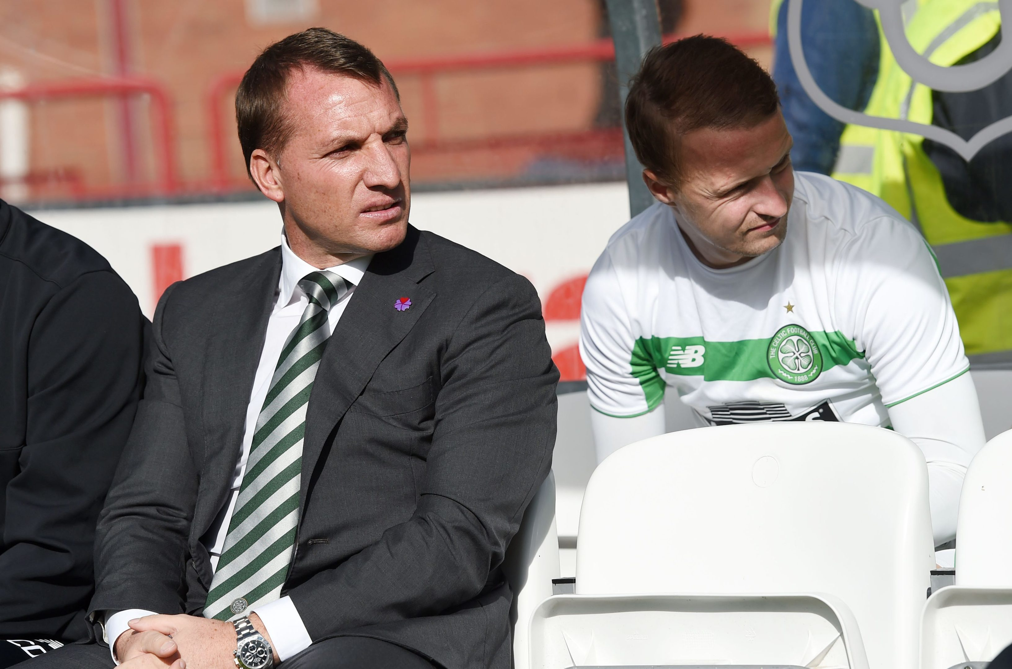Celtic manager Brendan Rodgers (left) and Leigh Griffiths (SNS Group)