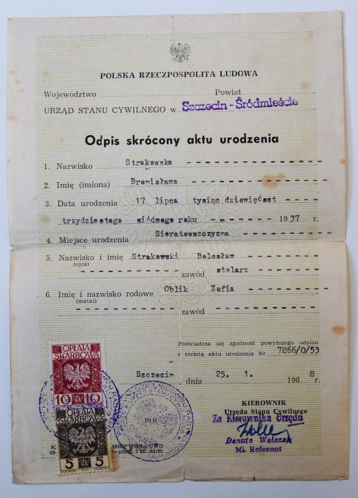 Birth certificate, dated 17th July 1937