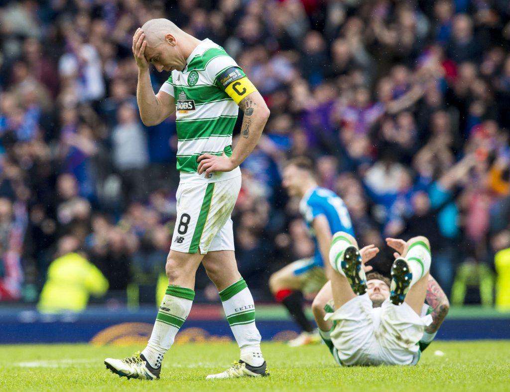 Celtic captain Scott Brown at full-time against Rangers in the last Hampden clash (SNS Group)