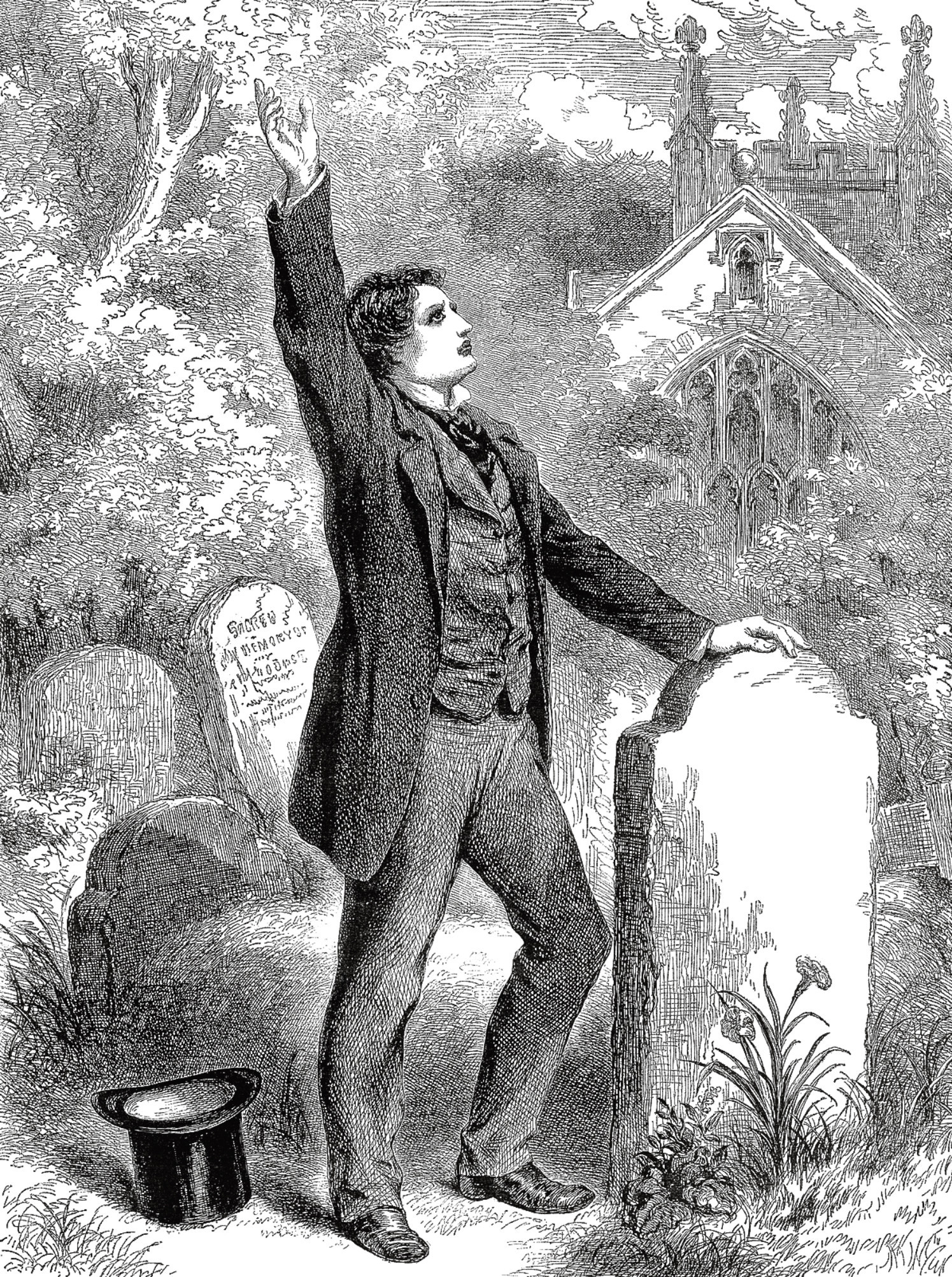 An engraved vintage illustration of a Victorian man in a cemetery at a funeral, mourning in sorrow, from a Victorian newspaper dated 1863 that is no longer in copyright