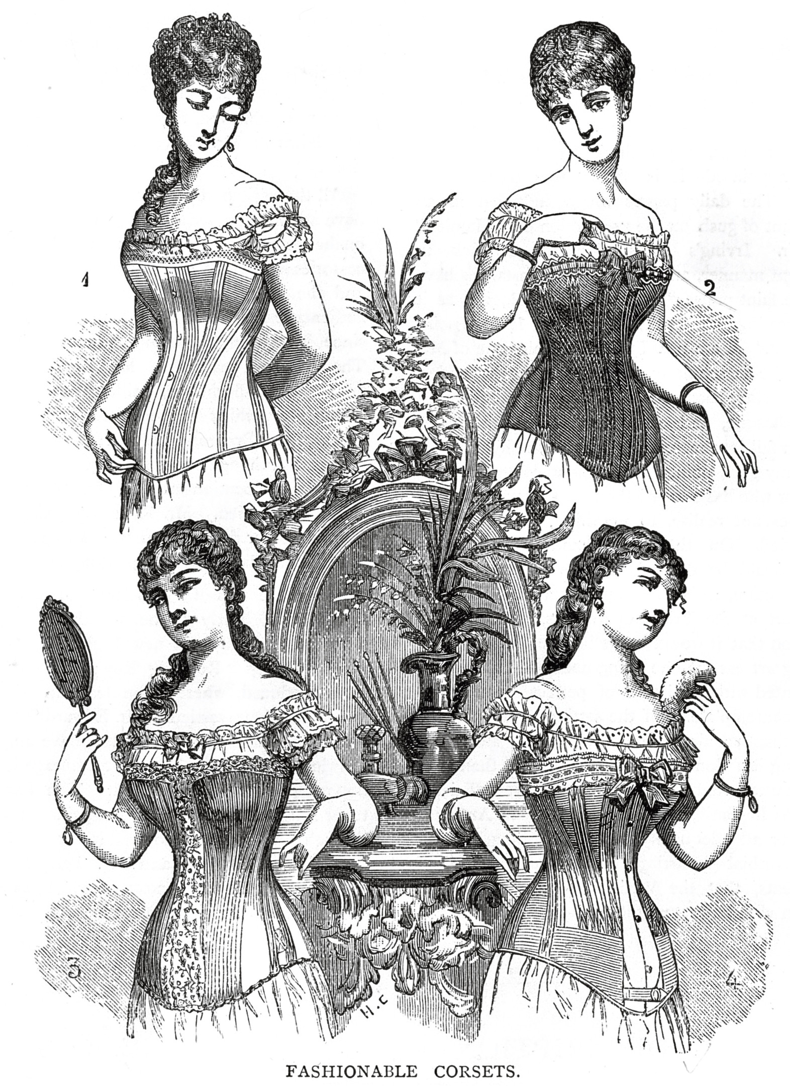 circa 1870: Four Victorian ladies modelling the whalebone corsets which were fashionable in the 19th century. (Photo by Hulton Archive/Getty Images)