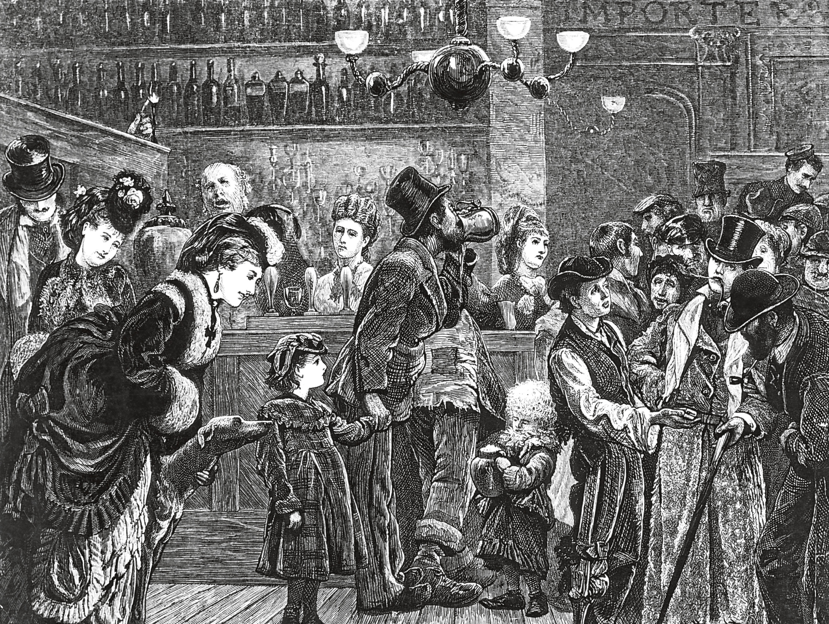 Customers and staff in a London pub, circa 1870. (Photo by Hulton Archive/Getty Images)