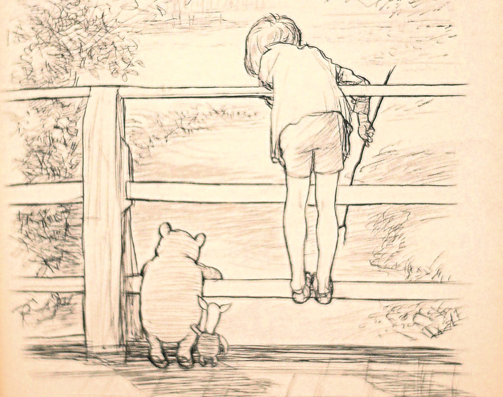 The drawing by E.H Shepard of Winnie the Pooh