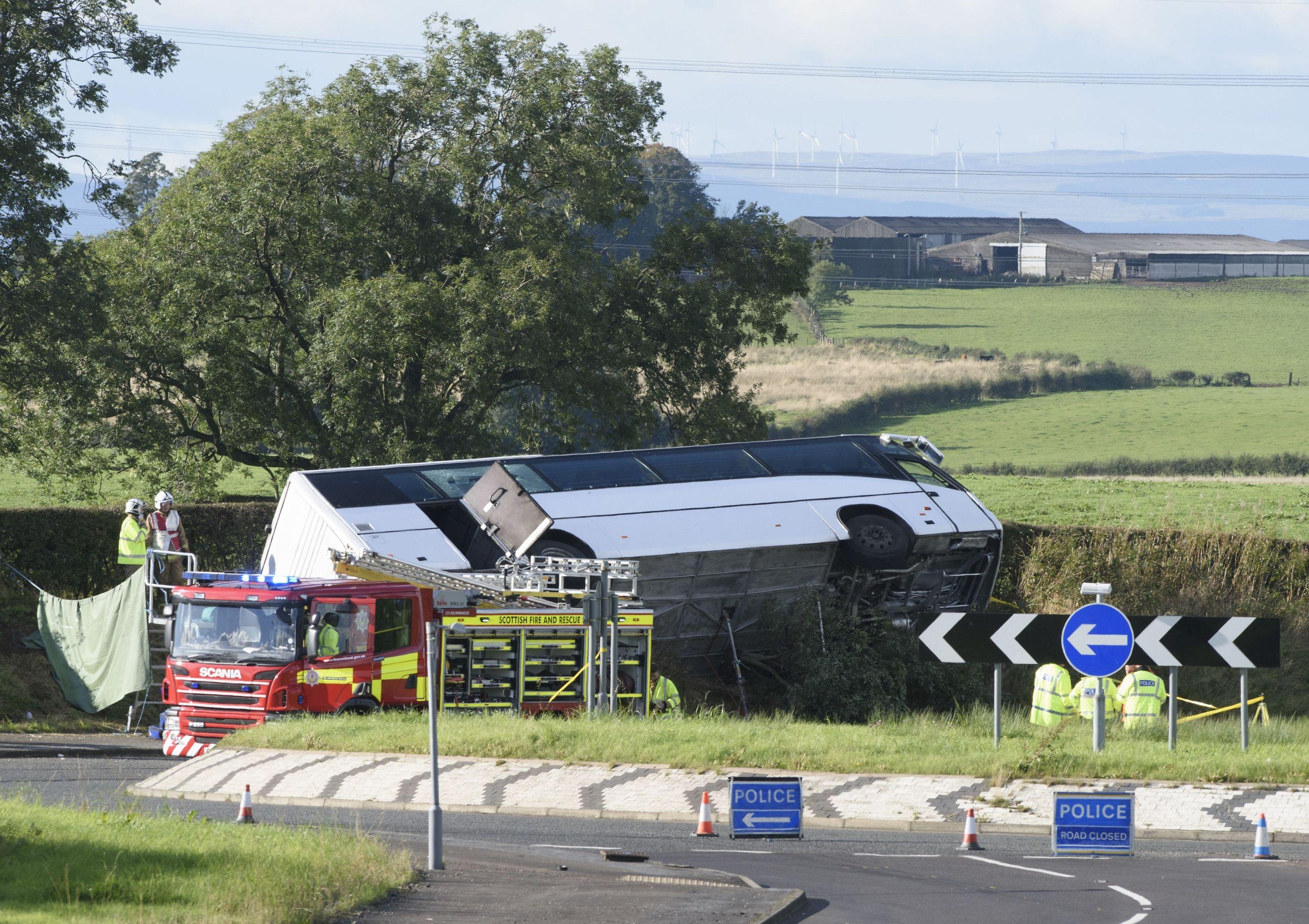 Bus crash in Ayrshire (John Linton/PA)
