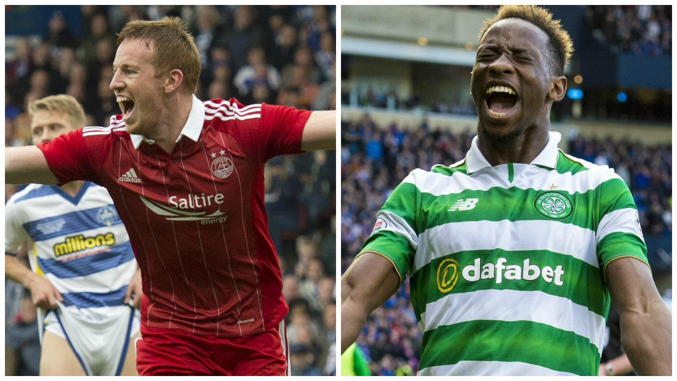 Aberdeen's Adam Rooney (left) and Celtic's Moussa Dembele (SNS Group)