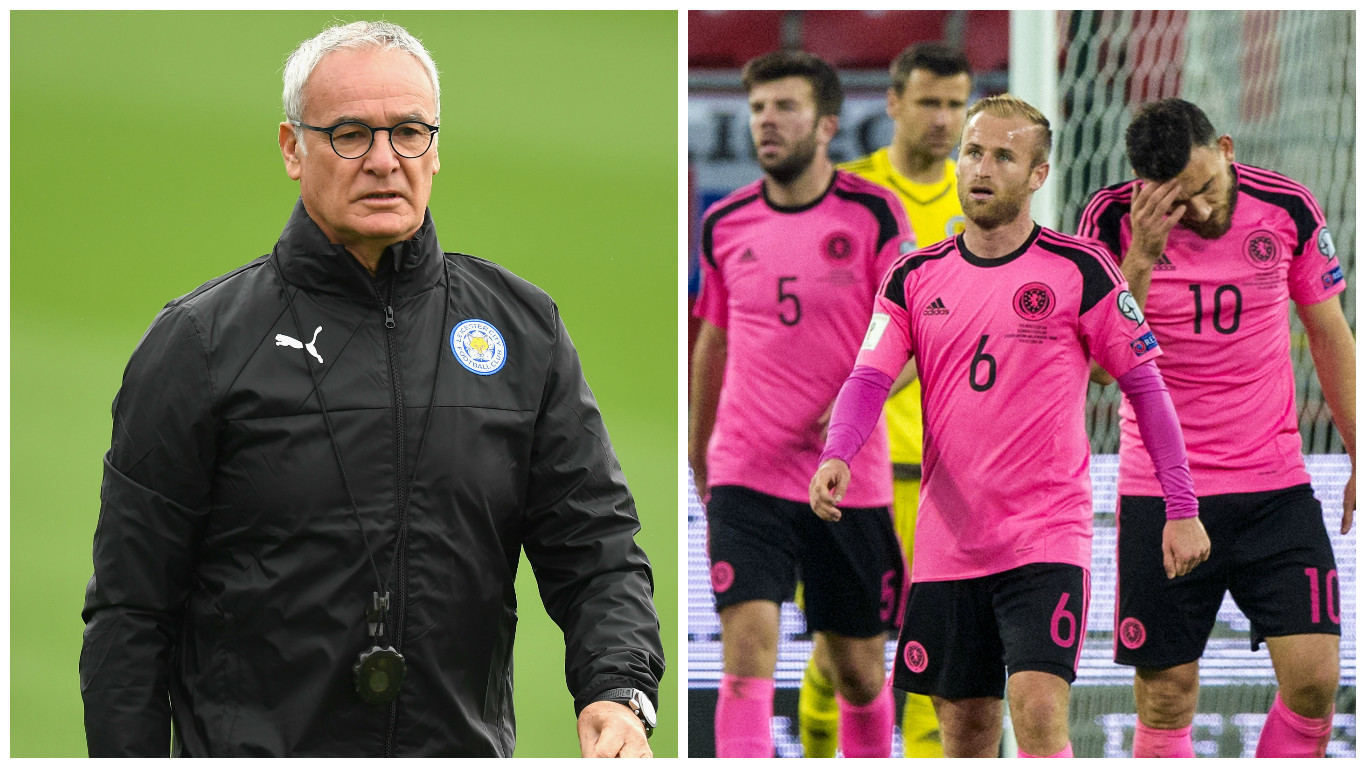 Ranieri (left) and Scotland stars after defeat in Slovakia (Michael Regan/Getty Images & SNS Group)