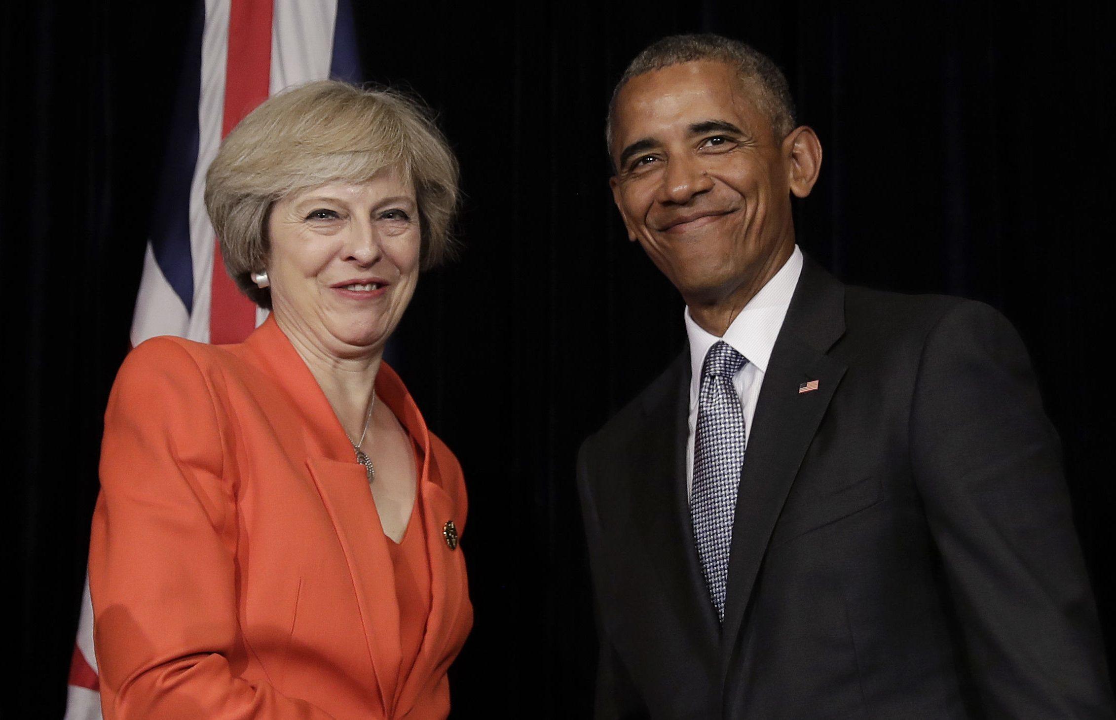 Barack Obama and Theresa May (AP Photo/Carolyn Kaster)