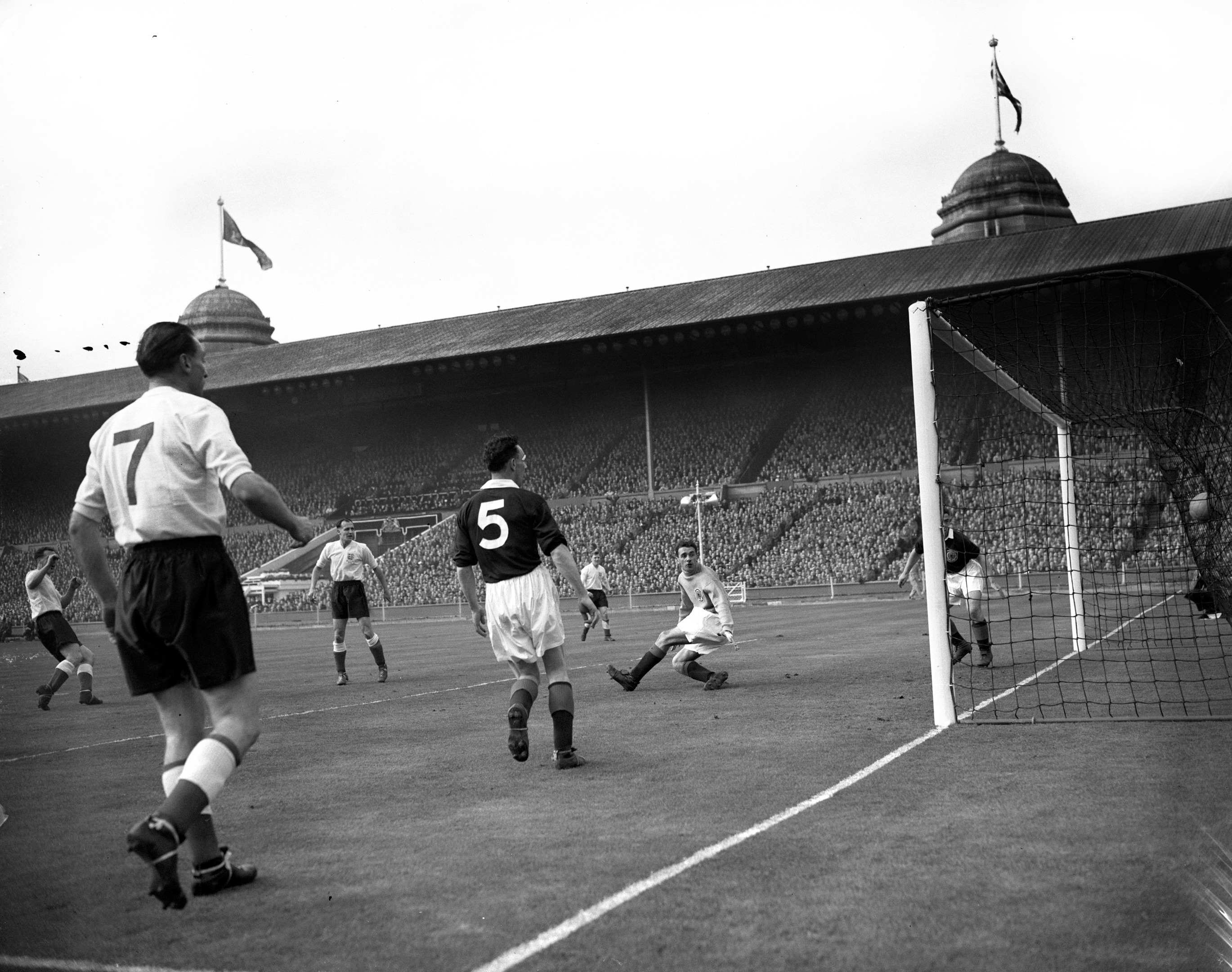 Stanley Matthews looks on as England score another (PA Archive)