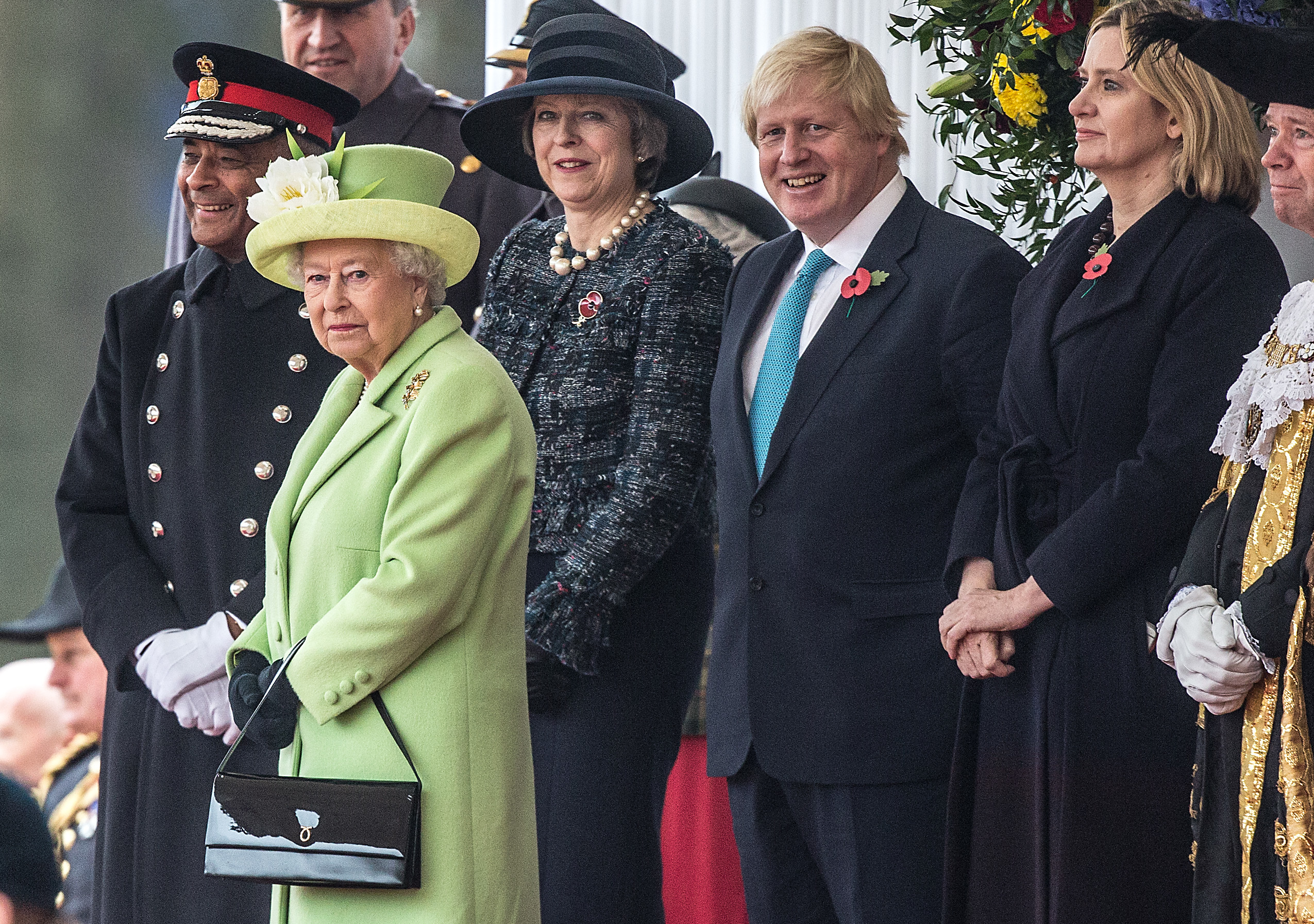 Queen Elizabeth II stands with the Prime Minister Theresa May, Foreign Secretary Boris Johnson and Home Secretary Amber Rudd (Richard Pohle - WPA Pool/Getty Images)