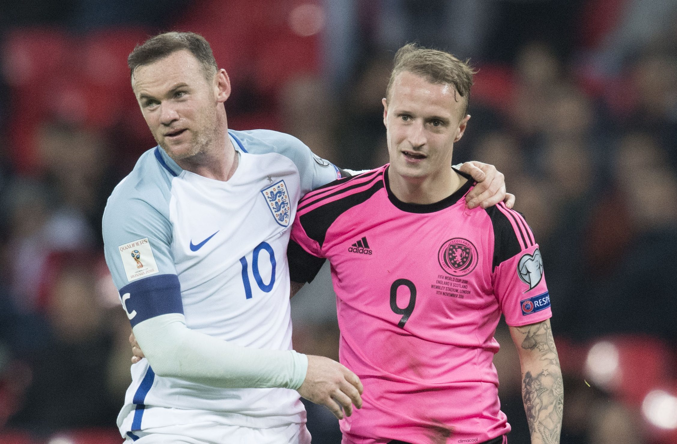 Leigh Griffiths with Wayne Rooney at full time (SNS Group / Alan Harvey)