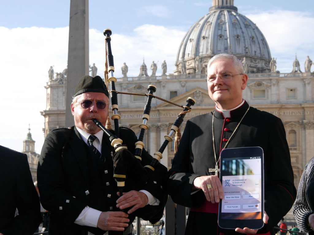 Archbishop Leo Cushley of St Andrews and Edinburgh in Vatican City launching the app (Scottish Catholic Church /PA Wire)