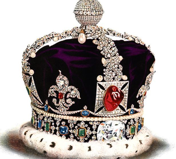 Queen Mary's crown, made for the Coronation of King George V. The crown was made by Garrard & Co and contains 2,200 diamonds. It contained the Koh-i-Noor diamond as well as Cullinan III and Cullinan IV.