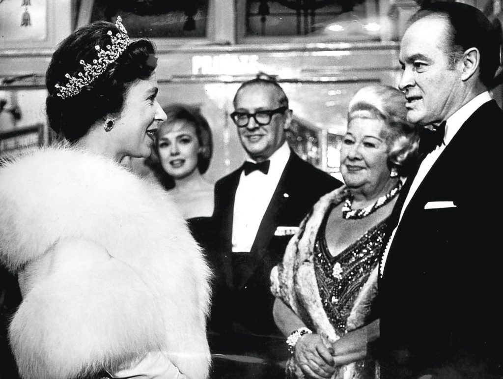 Queen Elizabeth II meeting Bob Hope and Sophie Tucker (PA Archive/PA Images)