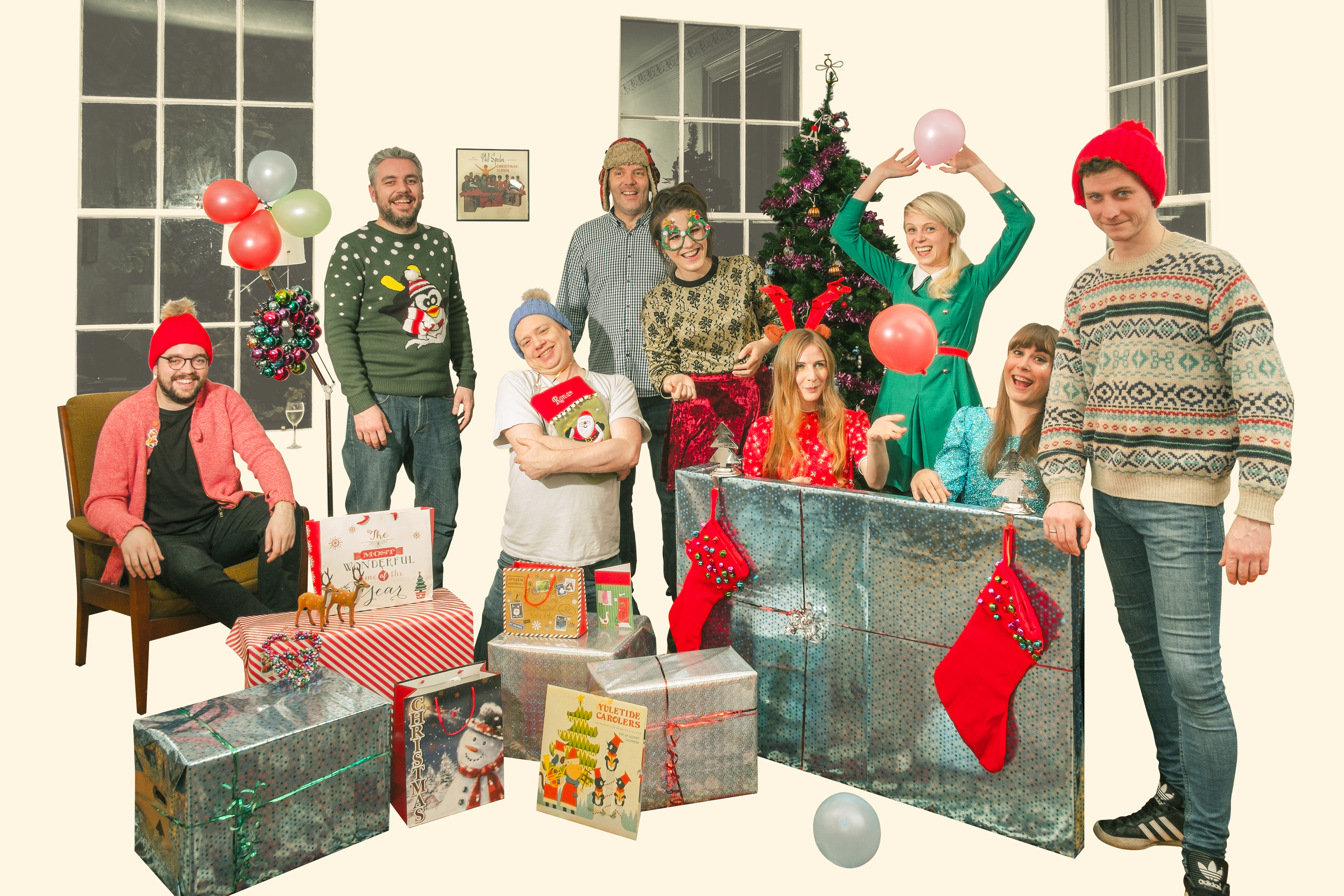 Members of TeenCanteen, BooHooHoo, Mark W. Georgsson, Last Night From Glasgow and La Chunky Studio recreate the Phil Spector Christmas album cover