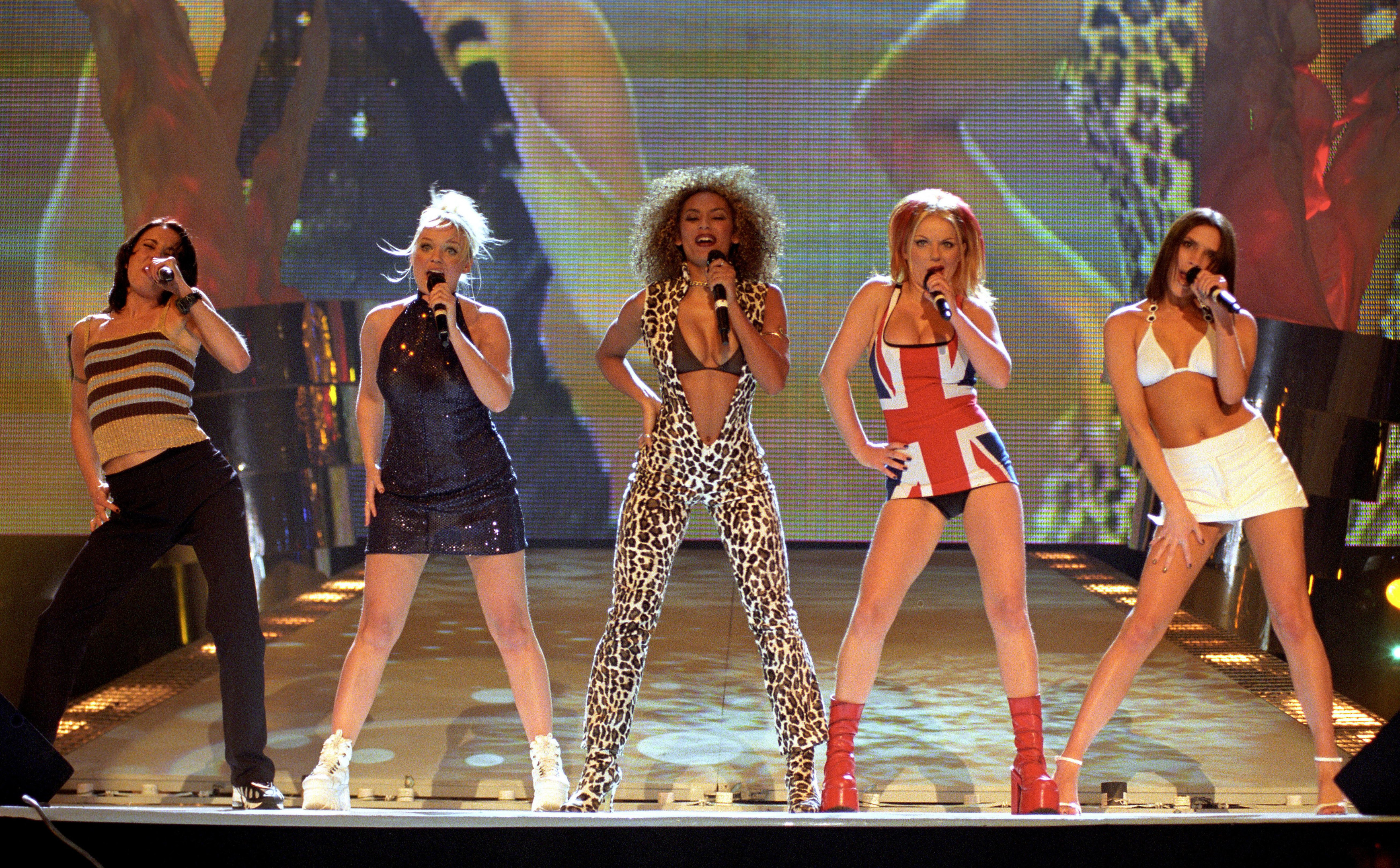 The Spice Girls perform on stage at the Brit Awards ceremony in London (PA)