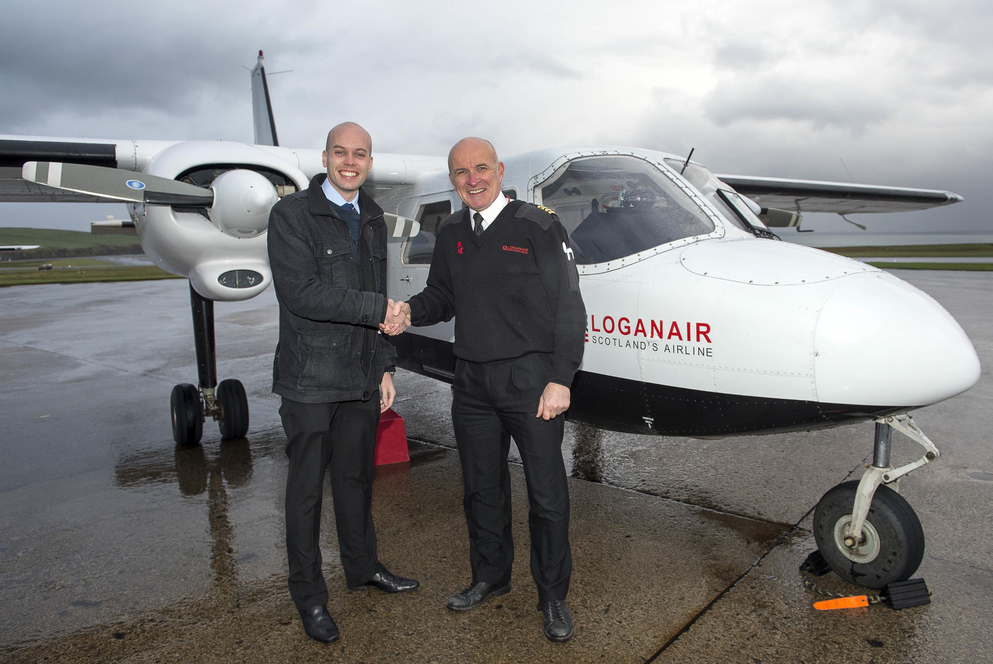 World's Shortest Flight Westray to Papa Westray- Sunday Post reporter Stuart Findlay and Capt Colin McAllister (Trevor Martin)
