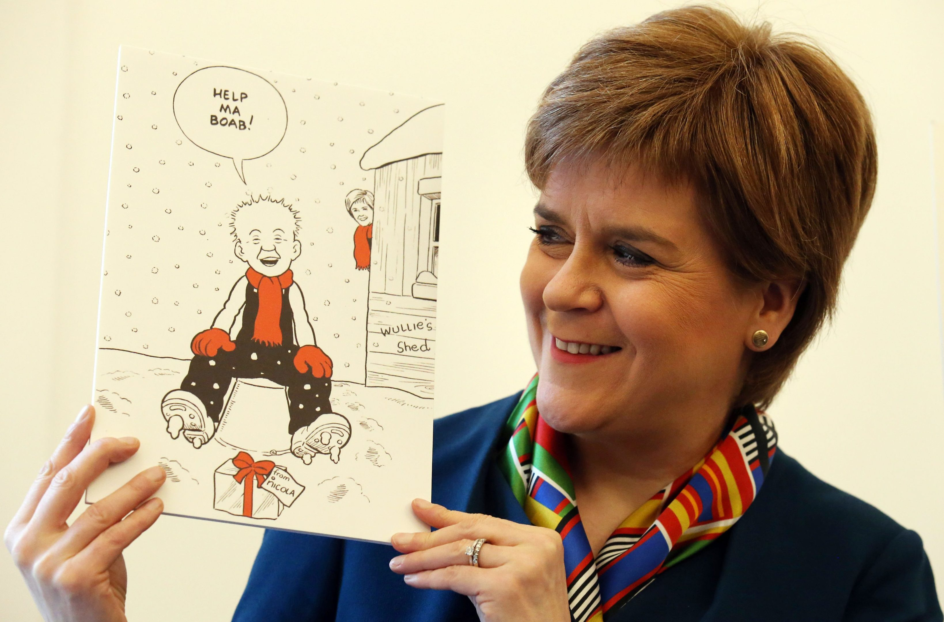 Scotland's First Minister Nicola Sturgeon unveiling her Christmas card (Andrew Milligan/PA Wire)