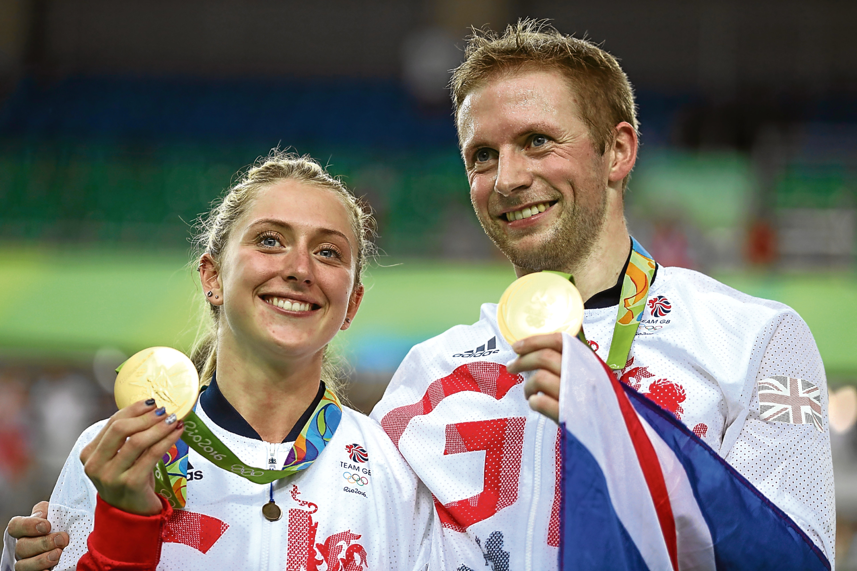 Jason Kenny celebrates with Laura Trott  (Bryn Lennon/Getty Images)