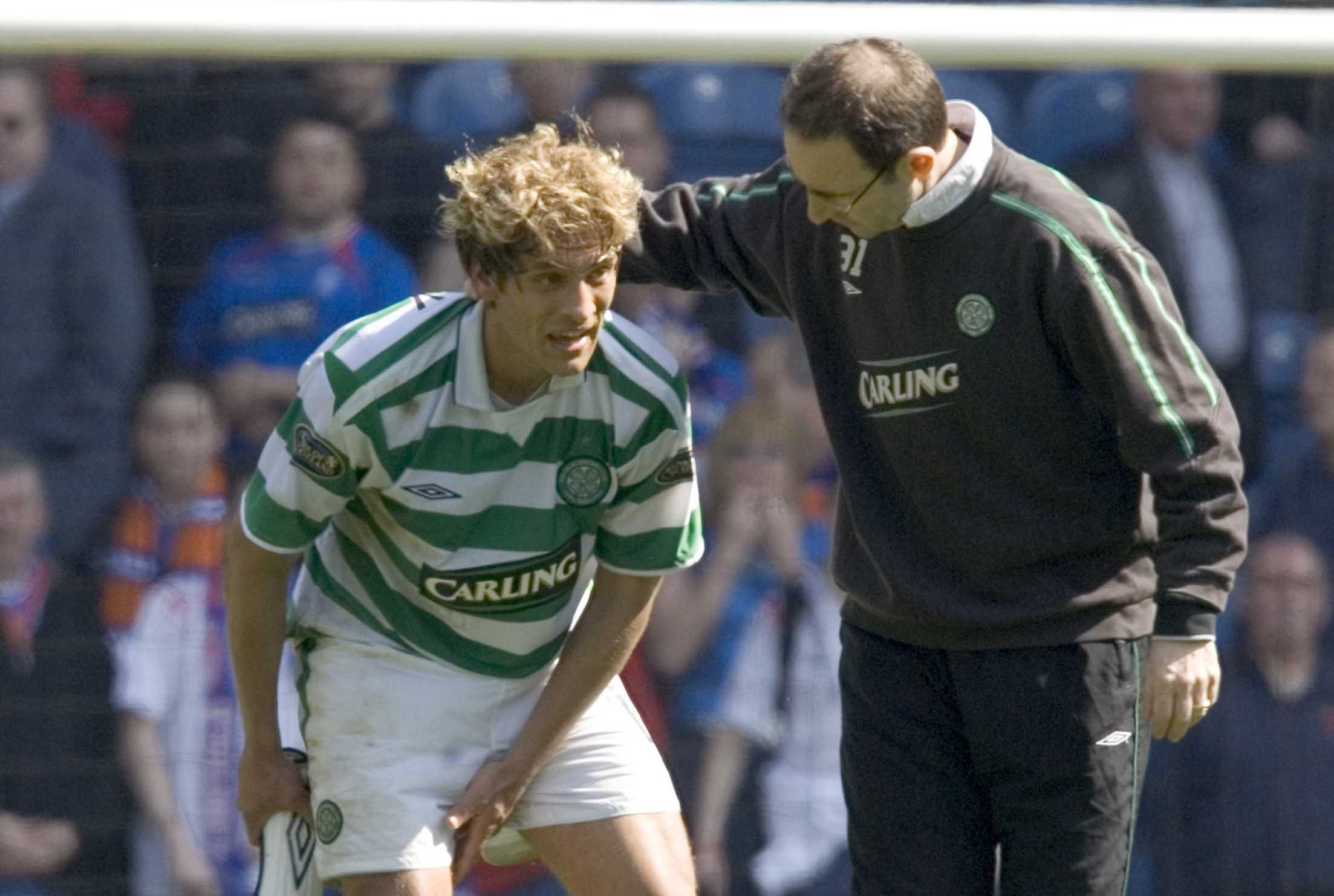 Stilian Petrov (left) and manager Martin O'Neill, 2005 (SNS Group)