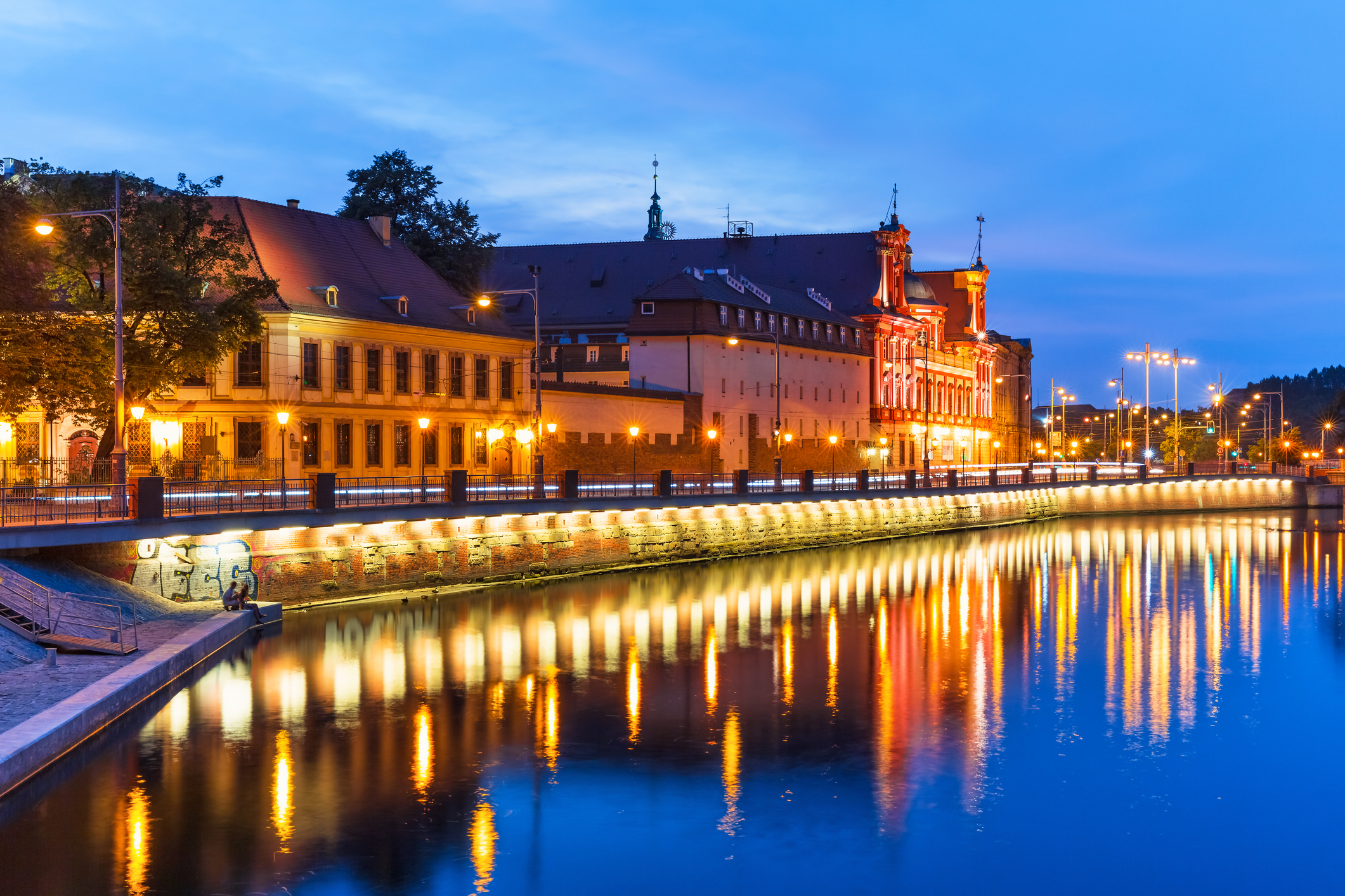 Old Town illuminated pier, Wroclaw, Poland (Getty Images)