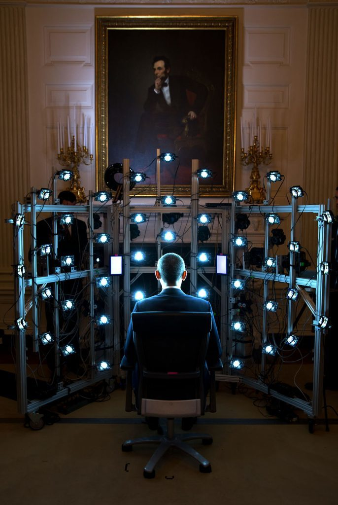 """June 9, 2014 """"The President sits for a 3D portrait being produced by the Smithsonian Institution. There were so many cameras and strobe lights flashing but the end result was kind of cool. See the video at this link: http://1.usa.gov/1zhPtAf."""" (Official White House Photo by Pete Souza)"""