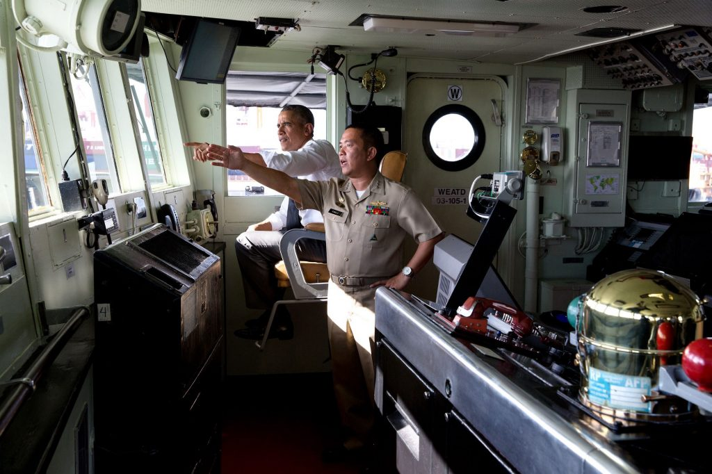"""Nov. 17, 2015 """"The President talks with Captain Vince Sibala during a tour of the BRP Gregorio del Pilar (PF-15) in Manila Harbor, Philippines. The ship was a former U.S. Coast Guard cutter acquired by the Philippines after it was decommissioned."""" (Official White House Photo by Pete Souza)"""
