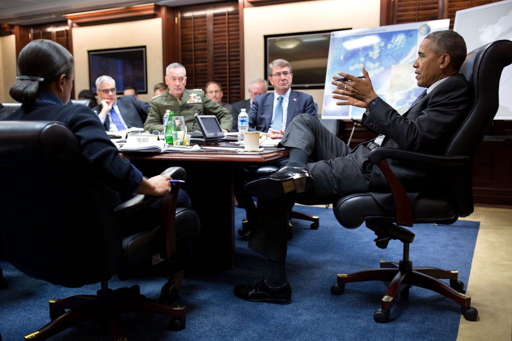 """March 18, 2016 """"I spend a lot of time every year in the Situation Room, which is not my favorite room to work in because it's so difficult to move around. Here the President convenes a National Security Council meeting."""" (Official White House Photo by Pete Souza)"""