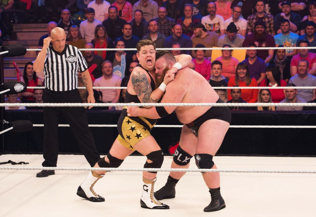 Grado recently beat Dave Mastiff to win the World of Sport Wrestling title (ITV)
