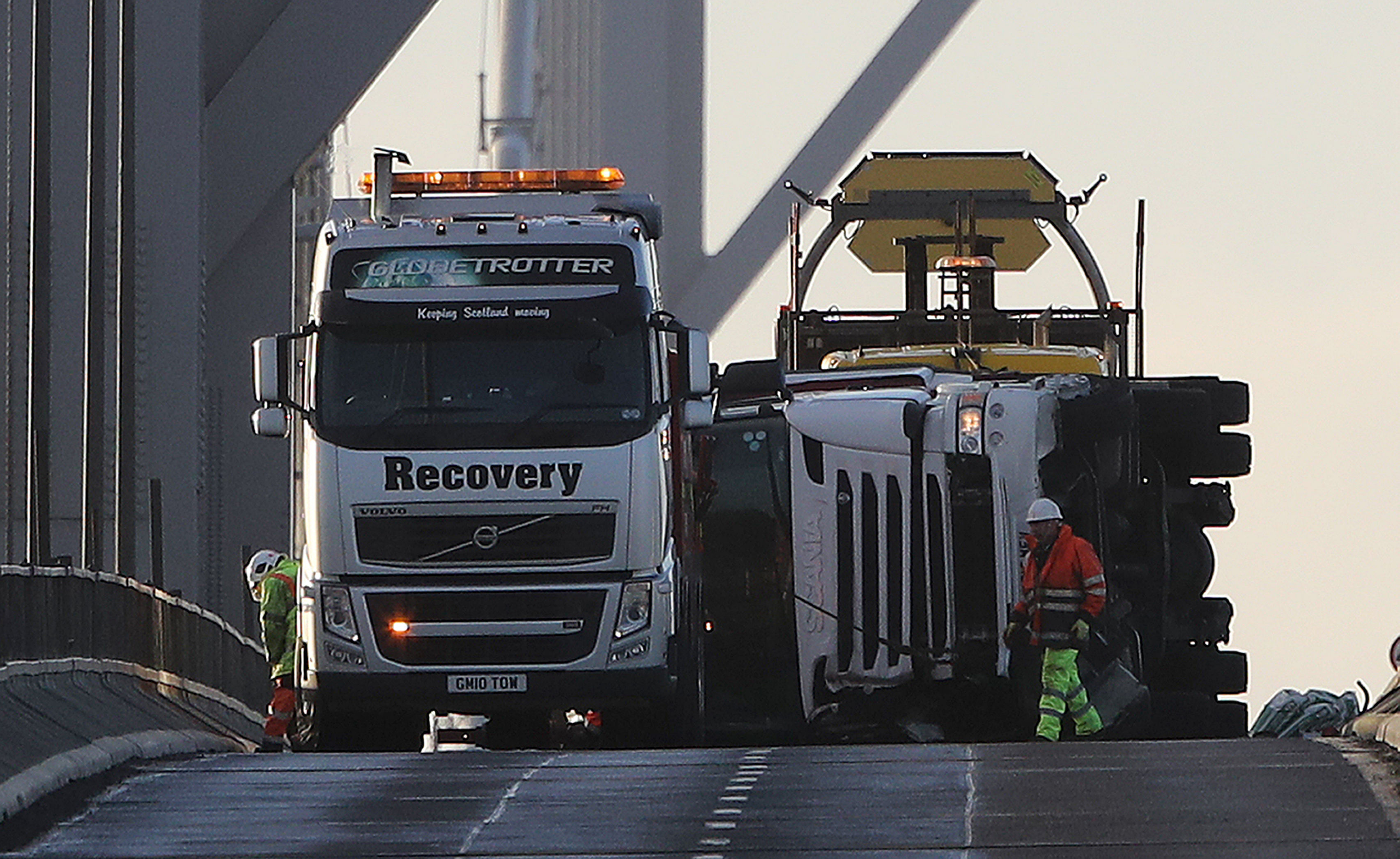 An overturned lorry on the Forth Road Bridge (Andrew Milligan/PA Wire)