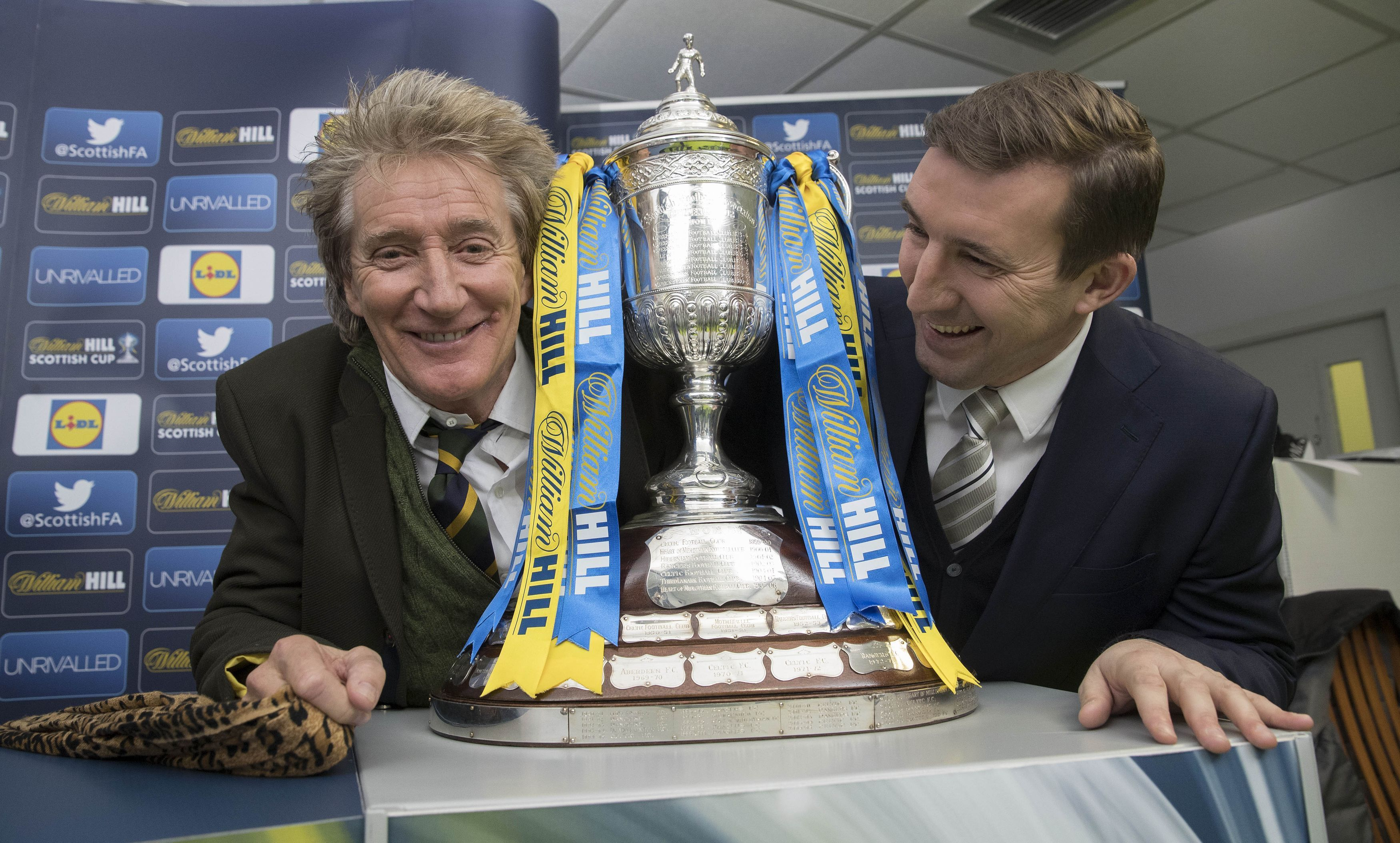Sir Rod Stewart (left) and Alan Stubbs with the Scottish Cup prior to the William Hill Scottish Cup 5th Round Cup Draw (Steve Welsh/PA Wire)