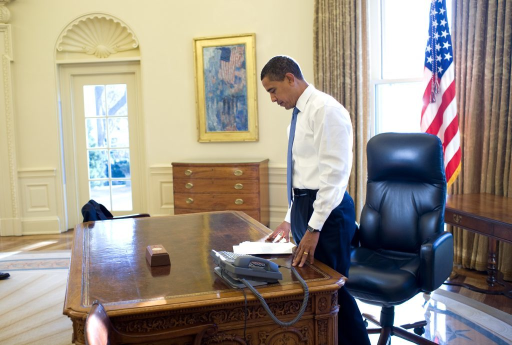 Jan. 21, 2009 This was his first morning in the Oval Office as President of the United States. He was reading some briefing material before a meeting. (Official White House photo by Pete Souza)