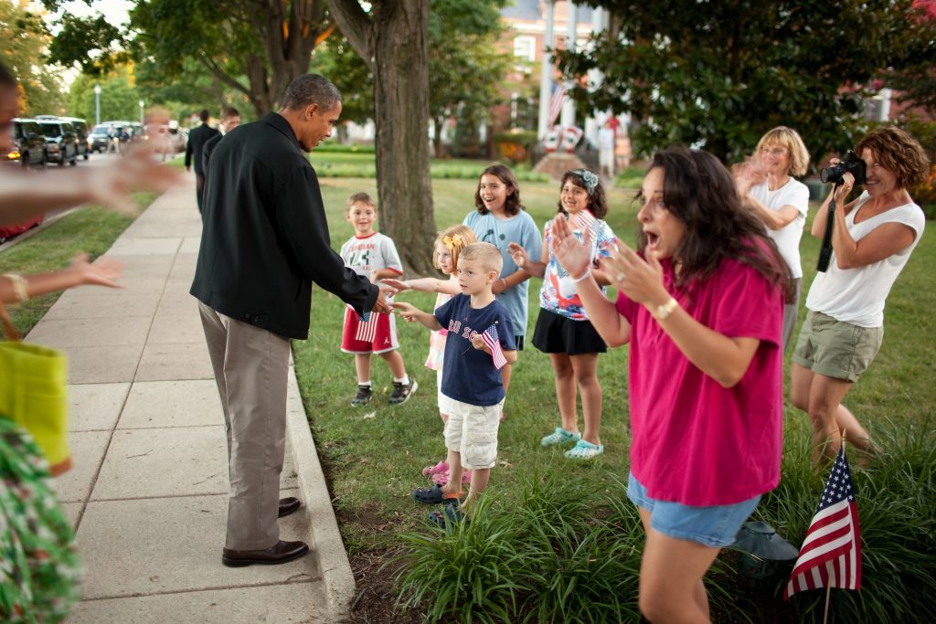 Residents greet President Barack Obama and First Lady Michelle Obama upon their arrival at Fort McNair in Washington, D.C., July 3, 2010. (Official White House Photo by Chuck Kennedy)