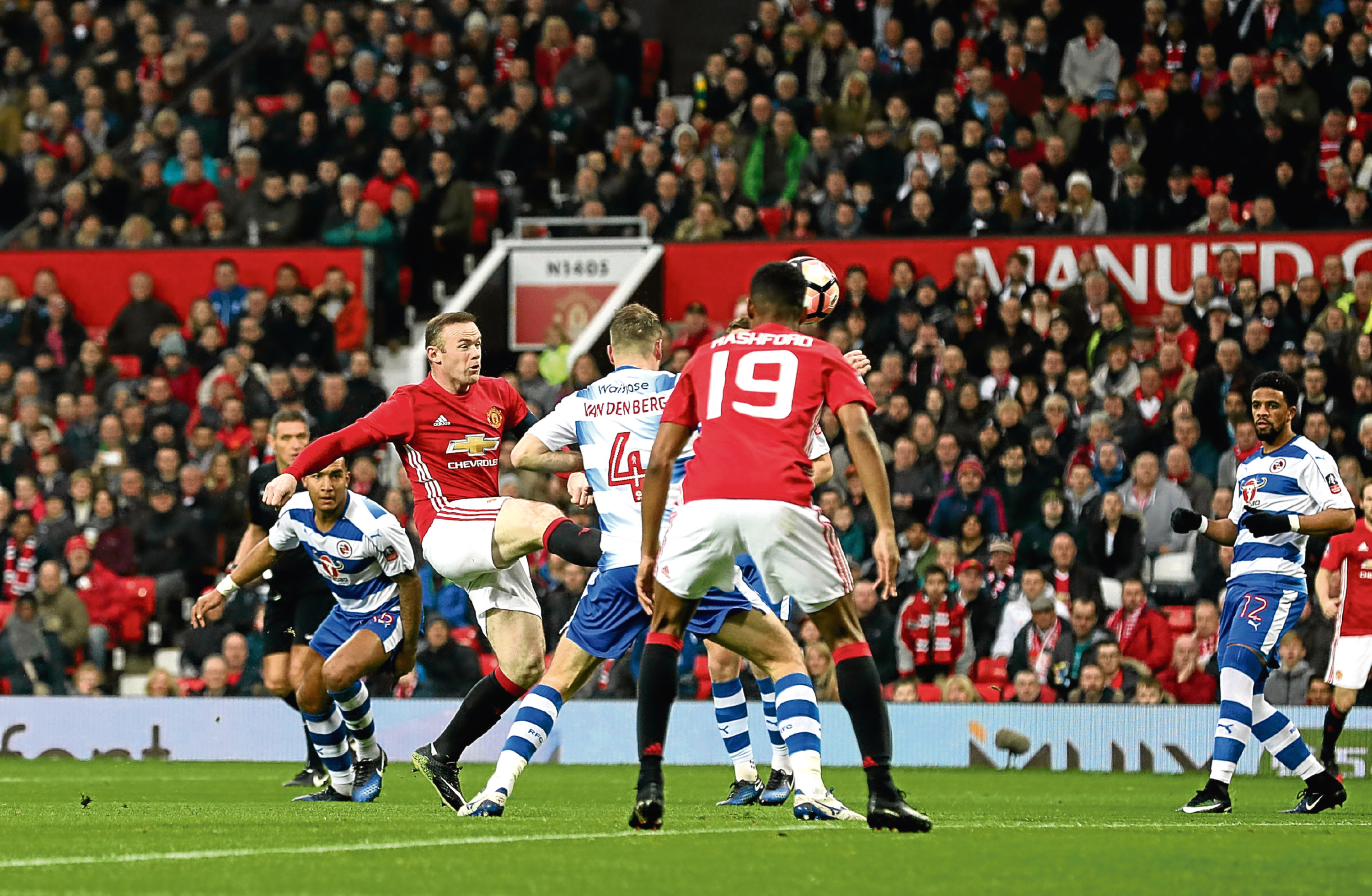 Manchester United's Wayne Rooney scores his side's first goal (Martin Rickett/PA Wire)