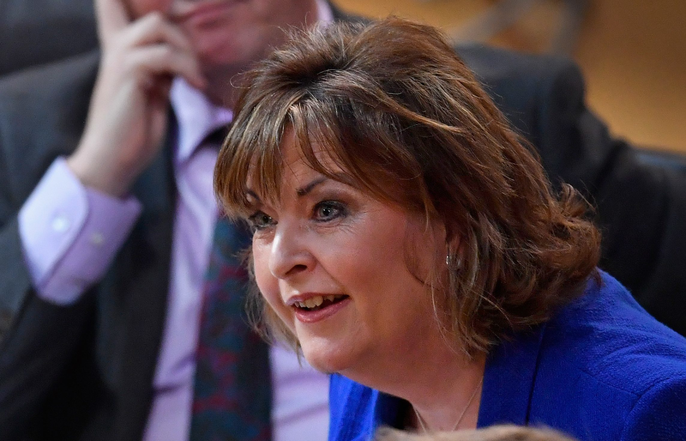 Cabinet Secretary Fiona Hyslop speaks during a debate to keep Scotland in the European single market at the Scottish Parliament. (Jeff J Mitchell/Getty Images)