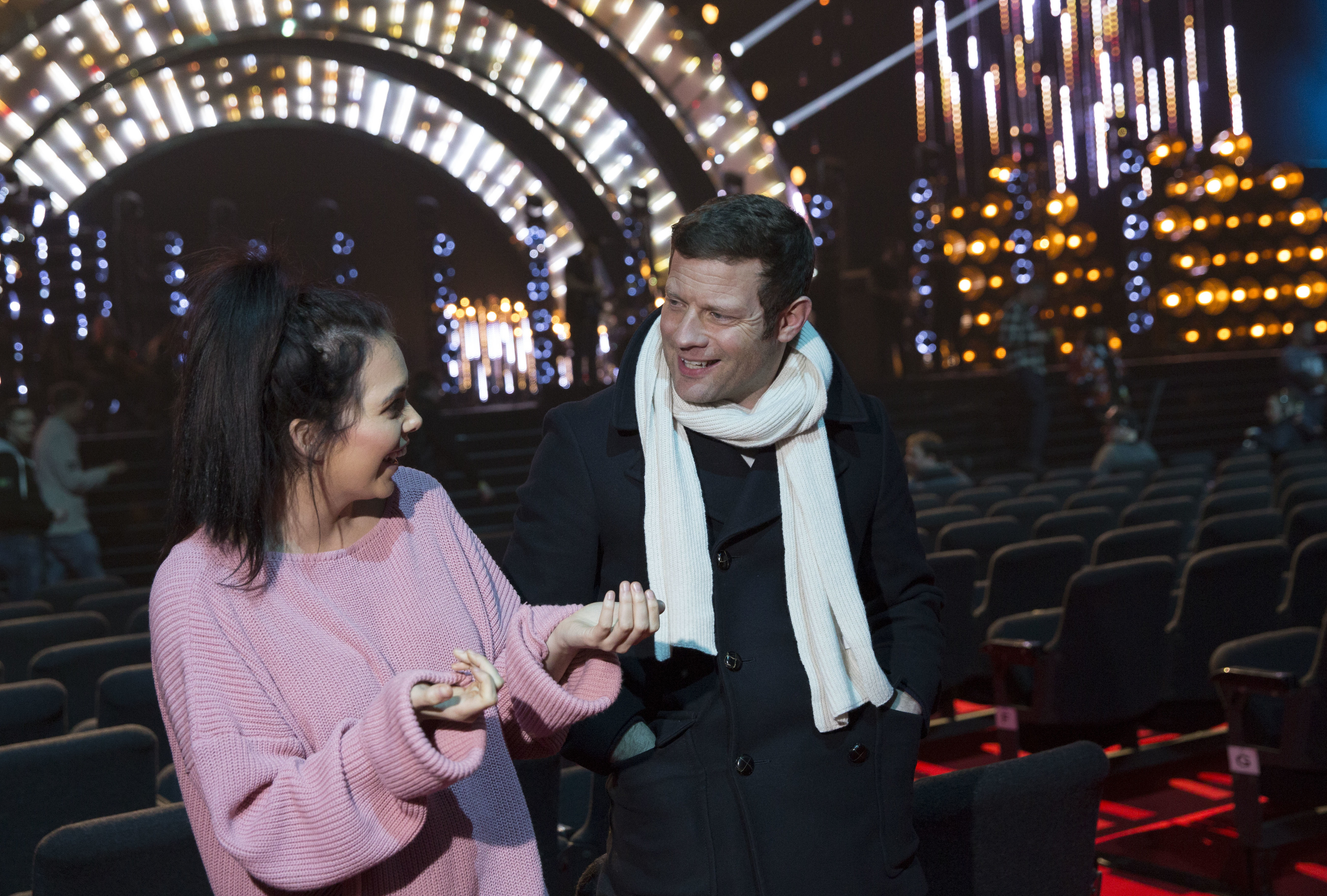 Scarlett Moffatt and Dermot O'Leary  during the National Television Awards rehearsal at The O2 Arena (Photo by John Phillips/Getty Images)