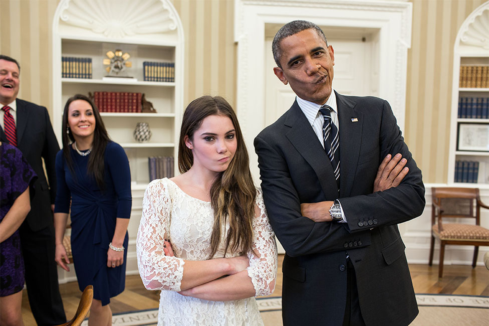 """November 15, 2012 """"The President had just met with the U.S. Olympics gymnastics team, who because of a previous commitment had missed the ceremony earlier in the year with the entire U.S. Olympic team. The President suggested to McKayla Maroney that they recreate her 'not impressed' photograph before they departed."""" (Official White House Photo by Pete Souza)"""