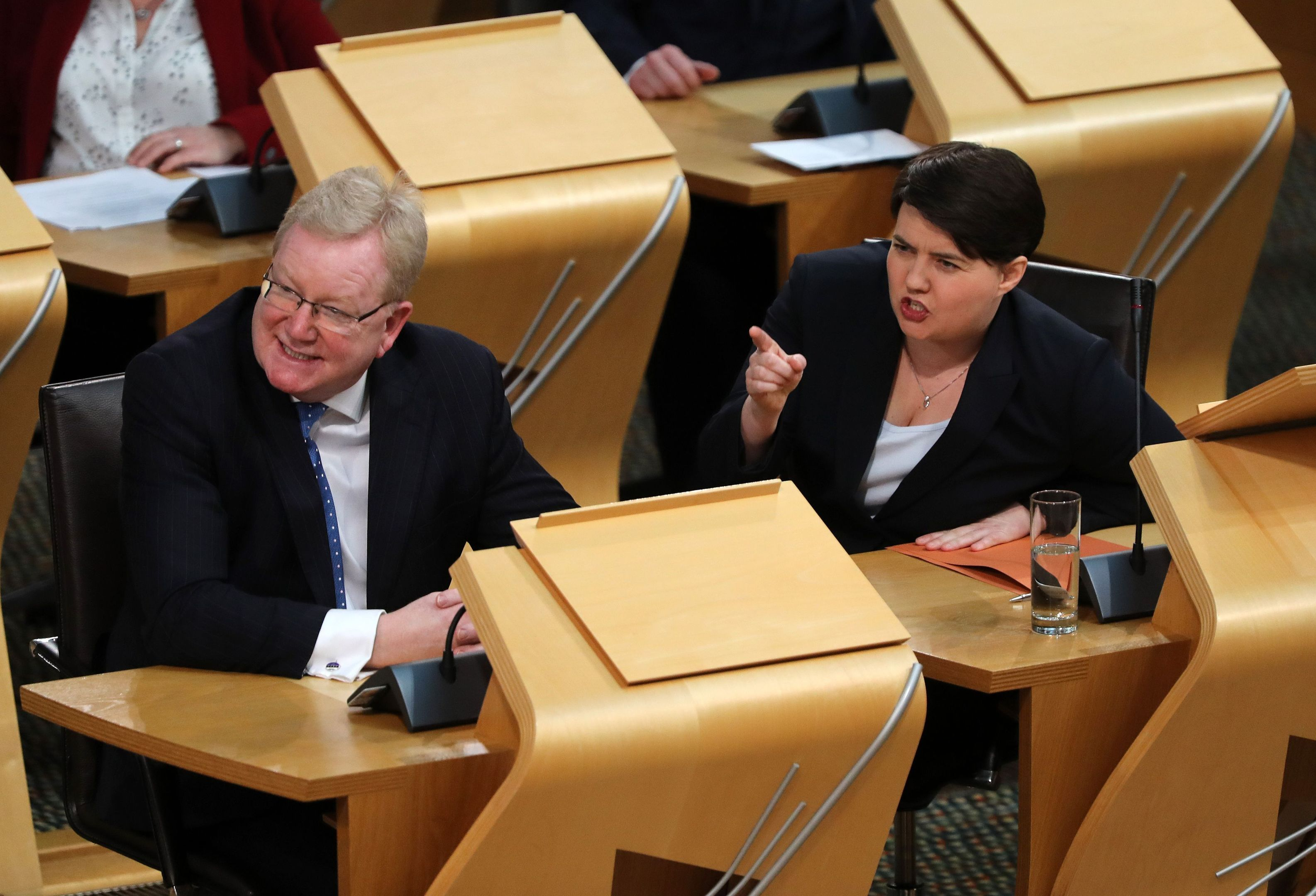 Scottish Conservative leader Ruth Davidson alongside deputy leader Jackson Carlaw (Andrew Milligan/PA Wire)