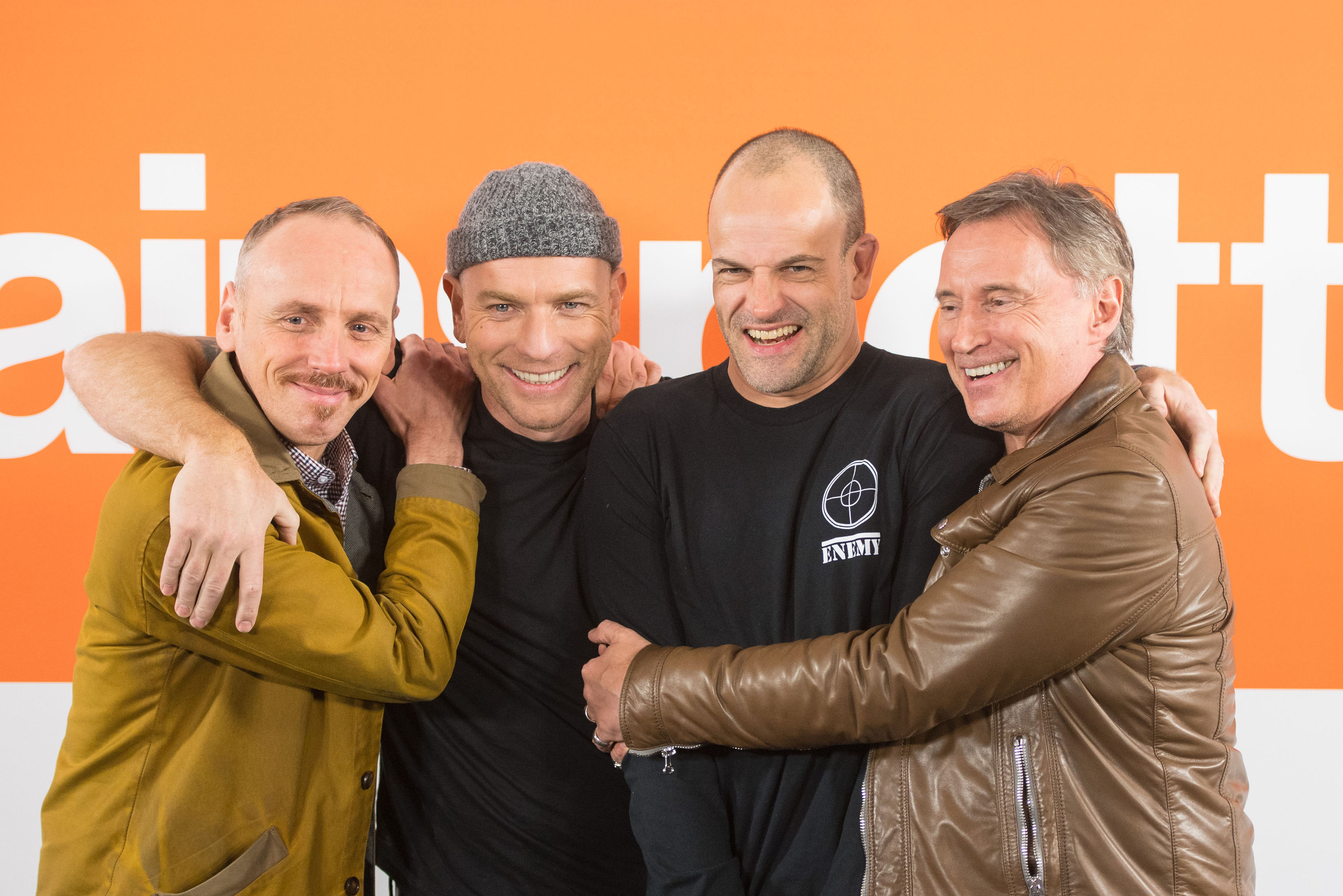 (Left to right) cast members Ewen Bremner, Ewan McGregor, Jonny Lee Miller and Robert Carlyle during a photo call for the cast of T2 Trainspotting (Dominic Lipinski/PA Wire)