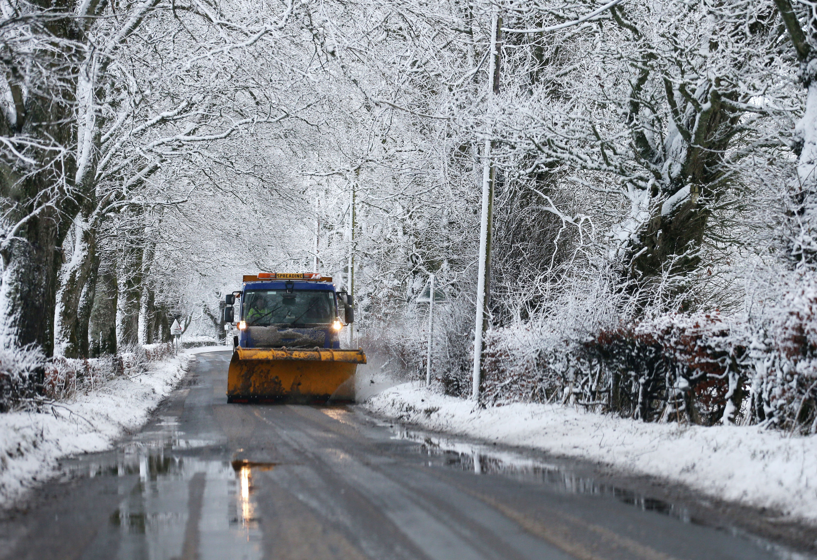 """A snow plow on the outskirts of Braco, near Stirling, as blizzard conditions are set to bring """"a real taste of winter to the whole of the UK"""". (Andrew Milligan/PA Wire)"""
