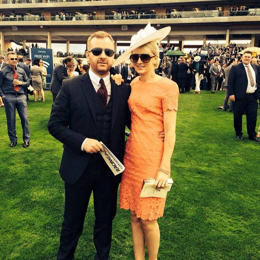 Kieran Kelly, who is the company secretary of Scotia aid, with his wife at Ascot