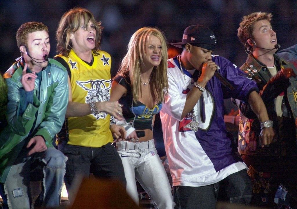 Stars from N'Sync and Aerosmith alongside Britney Spears and Nelly (Getty Images)