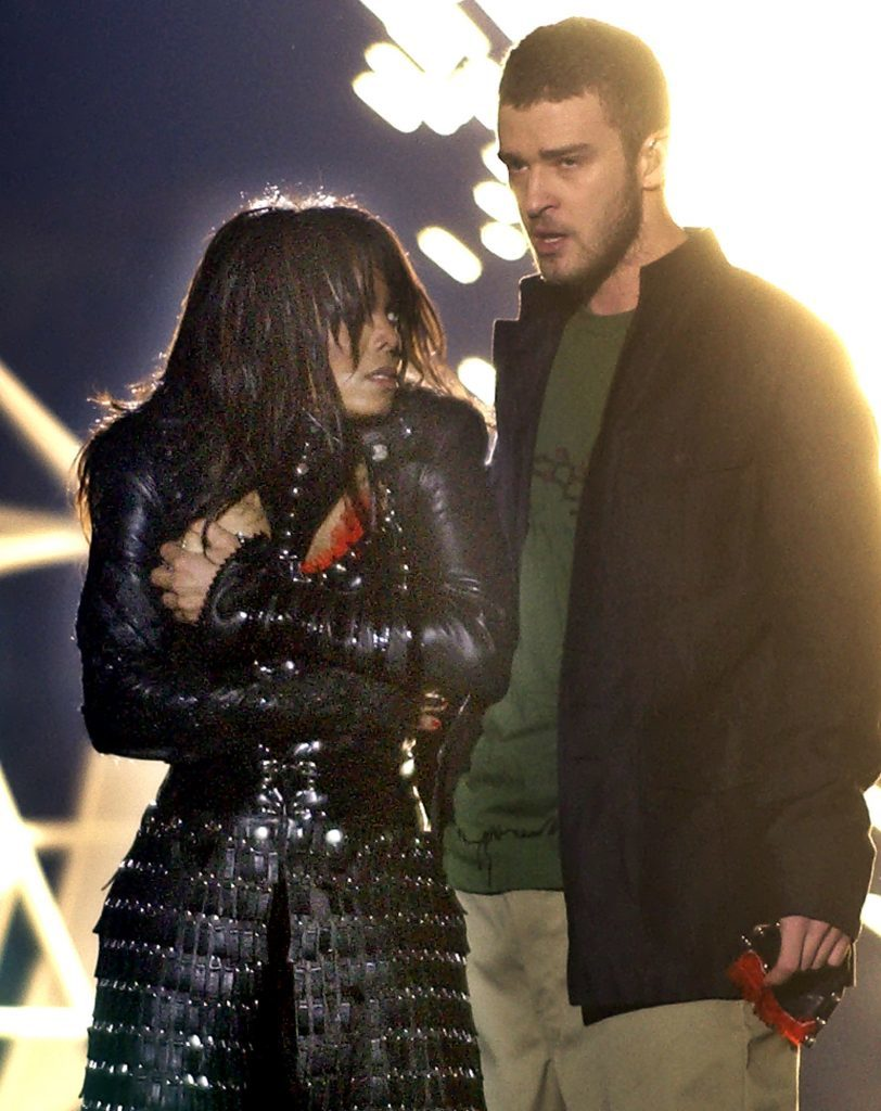 Singer Janet Jackson, left, covers her breast after her outfit came undone during a number with Justin Timberlake (AP Photo/Elise Amendola)