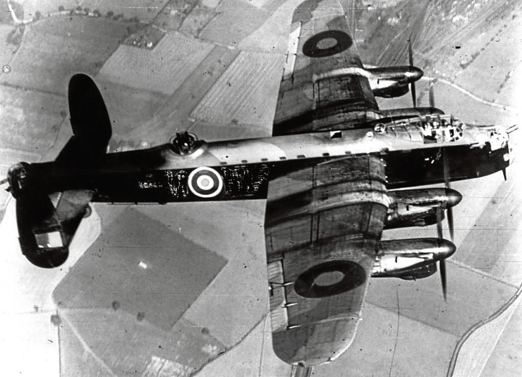 Royal Air Force Lancaster Bomber in flight. (Hulton Archive/Getty Images)